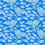 Pattern with tropical trees and leaves Stock Images