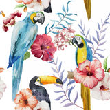 Pattern, tropical, watercolor. Beautiful pattern with tropical flowers