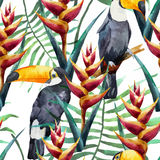Pattern, tropical, watercolor Royalty Free Stock Photography