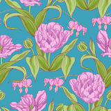 Pattern of tulip flowers with leaves Royalty Free Stock Photo