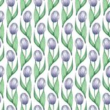 Pattern of tulips 3. Watercolor seamless background with hand drawn flowers. Hand drawn watercolor seamless floral pattern Stock Photography
