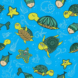 Pattern with turtles Royalty Free Stock Image