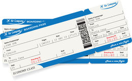 Pattern of two airline boarding pass tickets. In blue color. Travel or journey concept. Isolated on white. Vector illustration Stock Photo