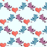 Pattern with Two birds and heart broken stele Stock Image
