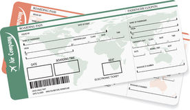 Pattern of two boarding pass or air ticket Royalty Free Stock Photography