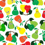 Pattern of 3 types of pears of different colors. On a white background Stock Photo