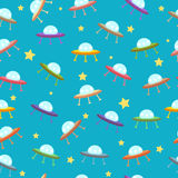 Pattern with UFO Stock Image