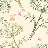 Pattern of the umbellate flowers and bees. Vector background of the bees and meadow flowers sketches Stock Photos