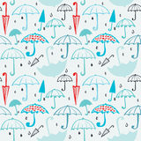 Pattern of umbrellas and drops 2 Stock Image