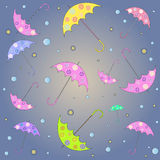Pattern with umbrellas. On a pink background Royalty Free Stock Photos