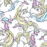 Pattern with unicorns. Royalty Free Stock Image