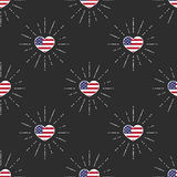 Pattern with USA flag hearts. Vector seamless pattern with USA flag hearts Royalty Free Stock Photos
