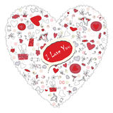 Pattern with valentine hearts, sketch drawing for your design Stock Photos