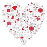 Pattern with valentine hearts, sketch drawing for your design Royalty Free Stock Image