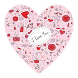 Pattern with valentine hearts, sketch drawing for your design Stock Images