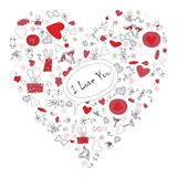 Pattern with valentine hearts, sketch drawing for your design Royalty Free Stock Photos