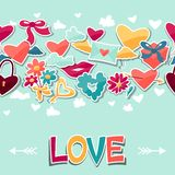 Pattern with Valentine's and Wedding stickers. Stock Photo