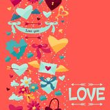 Pattern with Valentines and Wedding icons. Royalty Free Stock Photography