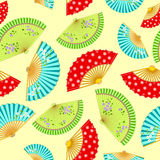 Pattern with the varied Japanese fans Royalty Free Stock Photo