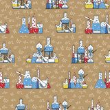 A variety of glassware, in the form of a pattern Stock Photos