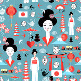 Pattern with various elements of Japanese Royalty Free Stock Photo