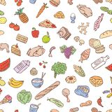 Pattern of the various foodstuff. Seamless background of the different nourishment products Royalty Free Stock Photos