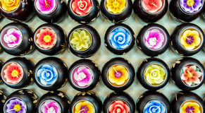 Pattern of Various Style Colorful Spa Candle in Flower Shape from Top View Royalty Free Stock Image