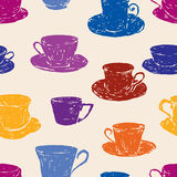 Pattern of the various teacups Stock Images