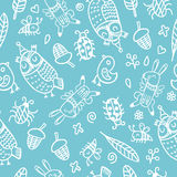 Pattern vector hand drawn cute collection. Stylish and elegant. Cartoon animals. Cute and hipster eps.10 Royalty Free Stock Images