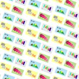 Pattern vector postage stamps background royalty free illustration