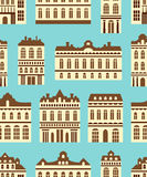 Pattern. Vector seamless pattern with old houses. Modern residence tile design Stock Images
