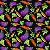 Pattern with vegetables, carrots, broccoli and eggplant vector illustration