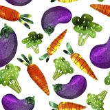 Pattern with vegetables, carrots, broccoli and eggplant stock illustration