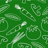 Pattern with vegetables. Seamless pattern with vegetables on green background Stock Illustration