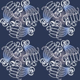 Pattern vignette round of curl retro  blue. Pattern vignette round of curl retro dark blue  backround Royalty Free Stock Photography
