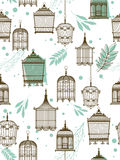 Pattern with vintag birdcages Royalty Free Stock Images