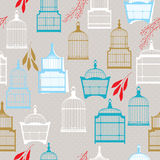 Pattern with vintag birdcages Stock Photography