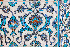 Pattern of vintage ceramic tiles on wall of historical Topkapi palace, Istanbul. Royalty Free Stock Photography