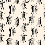 Pattern of the vintage dancing couples Stock Photos