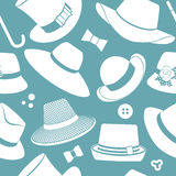 Pattern with vintage hats Royalty Free Stock Photo