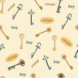 Pattern with vintage keys on a yellow background stock illustration