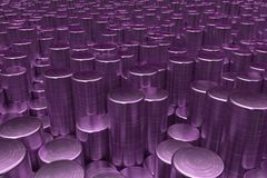 Pattern of violet brushed metal cylinders of different length. Metal sticks. Abstract background. 3D rendering illustration Royalty Free Stock Photography