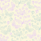 Pattern with violet flowers Stock Image