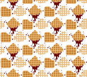 Pattern waffles. Waffles seamless  pattern. Sweet and delicious food Stock Image