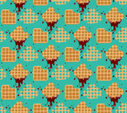 Pattern waffles. Waffles seamless  pattern. Sweet and delicious food Stock Photos