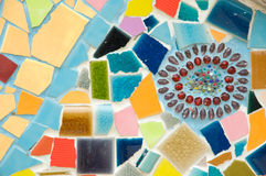 Pattern of the wall. Colorful pattern of the wall made from broken tile and crystal Stock Image