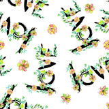A pattern (wallpaper) with a hand-drawn romantic inscription ''LOVE'' made by the black ink  wreathed with the exotic flowers Royalty Free Stock Photos