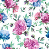 Pattern of watercolor blue and red peonies. Seamless pattern of watercolor blue and red peonies and leaves on white background Stock Photography
