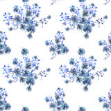 Pattern with watercolor bouquets of blue flowers, branches and leaves Royalty Free Stock Photos