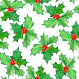Pattern with watercolor branches with the red berries and green leaves (holly tree) Royalty Free Stock Photography
